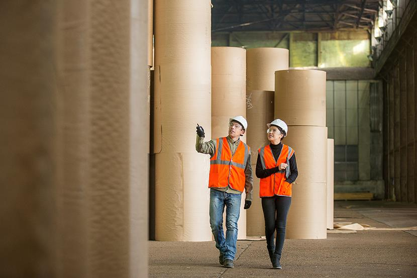 two people walking by large rolls of paper in a paper mill